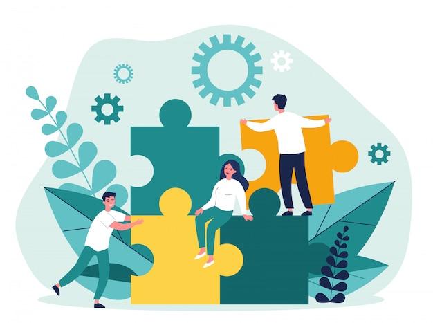 Бизнес-команда создает решение головоломки Premium векторы