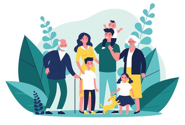Счастливая большая семья стоял вместе иллюстрации Premium векторы