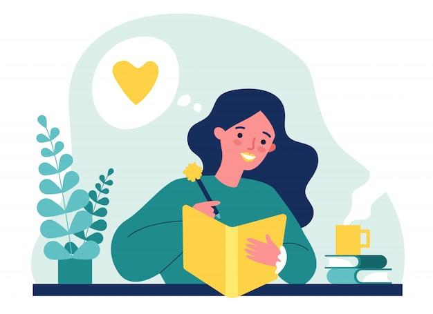 Девочка-подросток пишет дневник или журнал Premium векторы