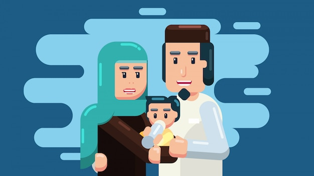 Семья, родители и ребенок Premium векторы
