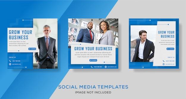 Корпоративный бизнес продвижение в социальных сетях флаер шаблон Premium векторы