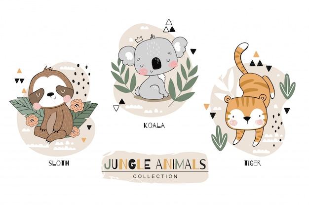 Коллекция животных джунглей. ленивец с персонажами мультфильма коала и тигр. нарисованная рукой иллюстрация установленного дизайна значка. Premium векторы