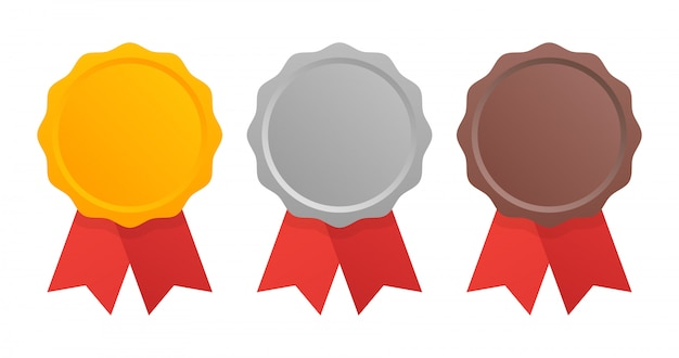 Первое, второе и третье место. набор медалей премии, изолированные на белом с лентами. Premium векторы