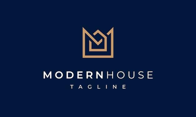 Современный дом буква м логотип для недвижимости Premium векторы