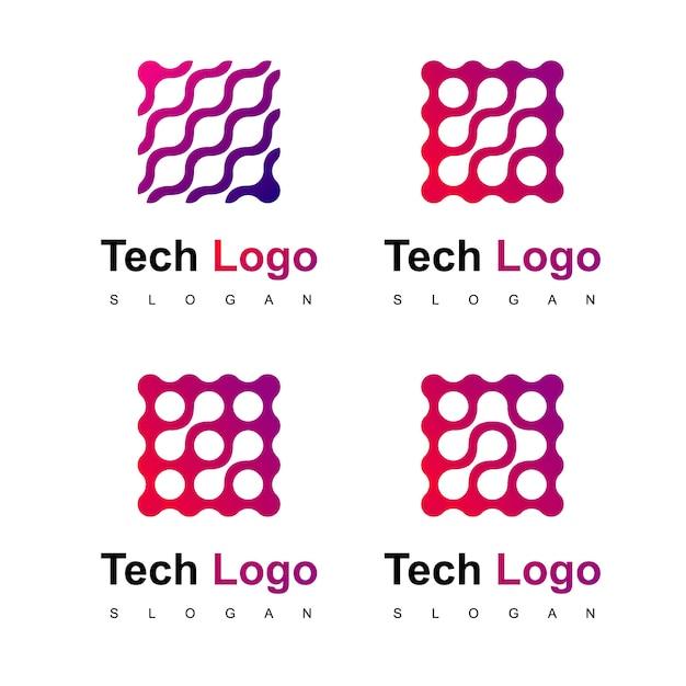 テクノロジーロゴデザインベクター Premiumベクター