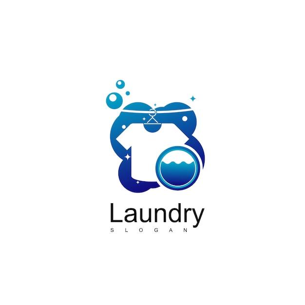 ランドリーロゴデザインベクトル Premiumベクター