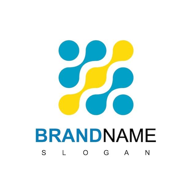 技術の分子のロゴデザインのインスピレーション Premiumベクター