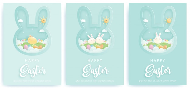 Счастливой пасхи карта с милые кролики. Premium векторы