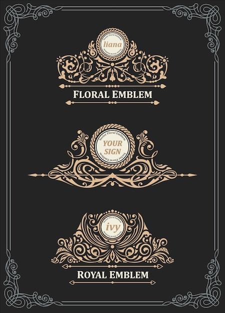 Старинная золотая эмблема и логотип Premium векторы