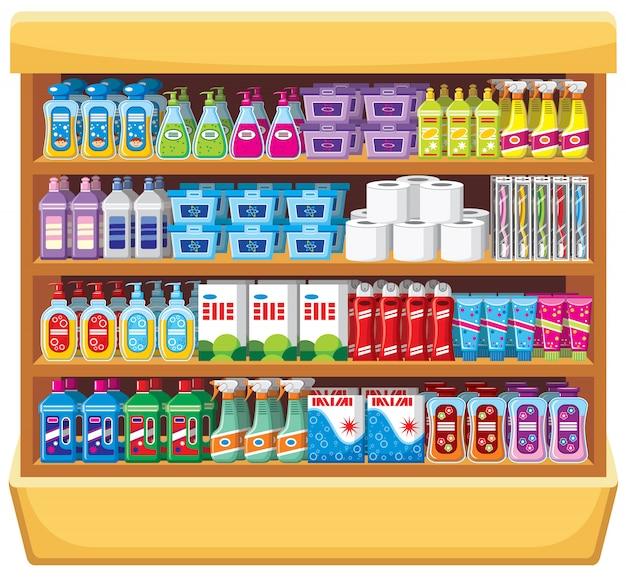 家庭用化学品の棚。 Premiumベクター