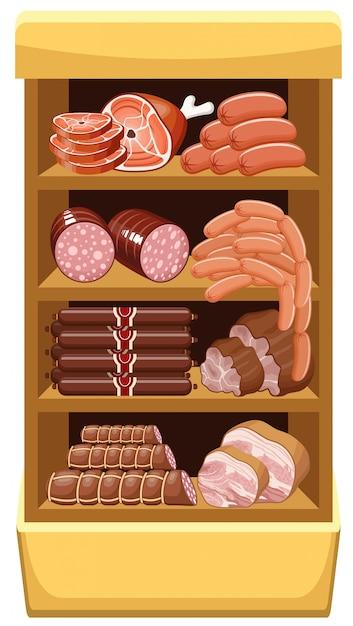 肉製品のある棚。精肉市場。 Premiumベクター