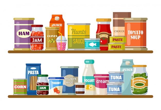 Супермаркет, полки с продуктами и напитками Premium векторы