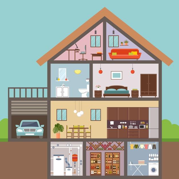 Дом в разрезе. интерьер. Premium векторы