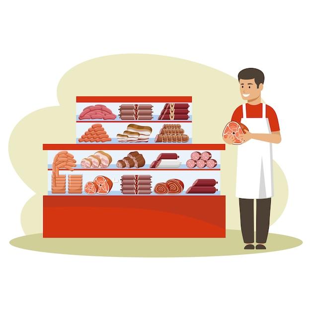 肉製品の買い物。カウンター。売り手はハムを保持しています。 Premiumベクター