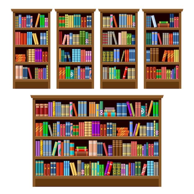 Набор книжных шкафов на белом фоне. мебель Premium векторы