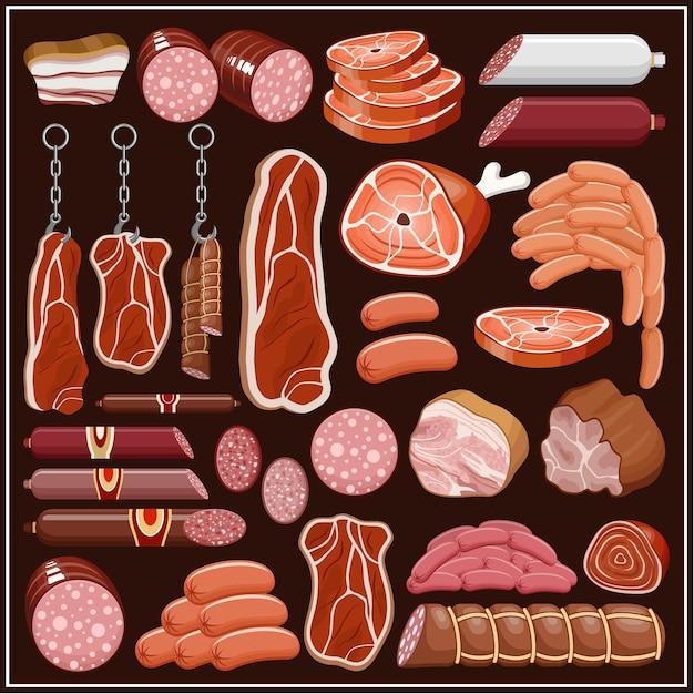 肉製品のセット。ベクター Premiumベクター