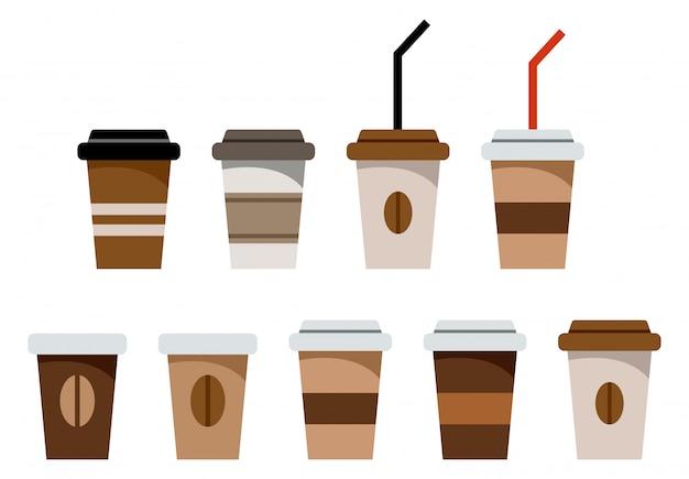 Набор бумажных стаканов для кофе Premium векторы