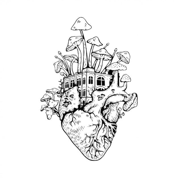 Иллюстрация анатомическое сердце с грибами Premium векторы