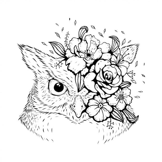 花柄のデザインの動物フクロウ Premiumベクター