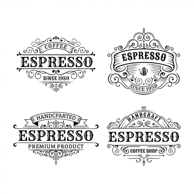ビンテージコーヒーラベルデザイン、書道、タイポグラフィー要素のセットスタイルデザイン Premiumベクター