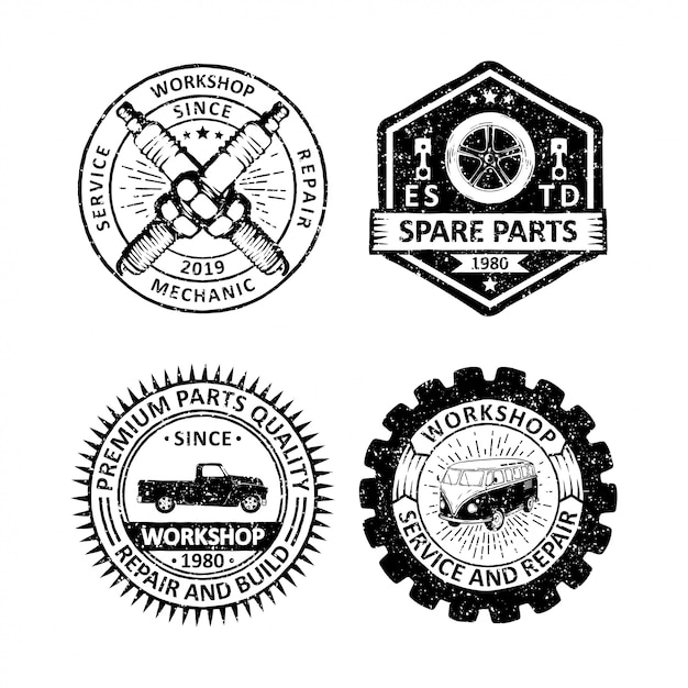 Набор старинных гаражных значков, этикеток, эмблем и логотипа Premium векторы