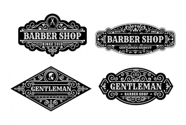 ビンテージ理髪店ラベルデザイン、書道、タイポグラフィー要素のセットスタイルデザイン Premiumベクター