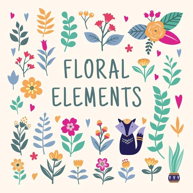 美しい花の要素セット Premiumベクター