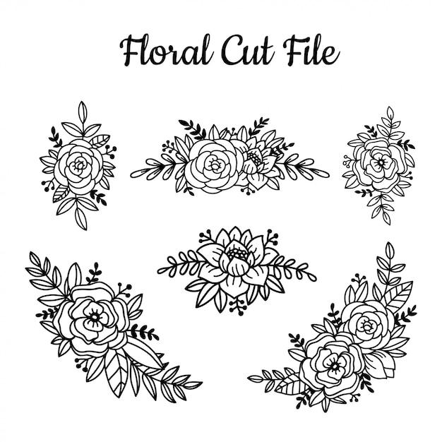 美しい花カットファイル要素 Premiumベクター