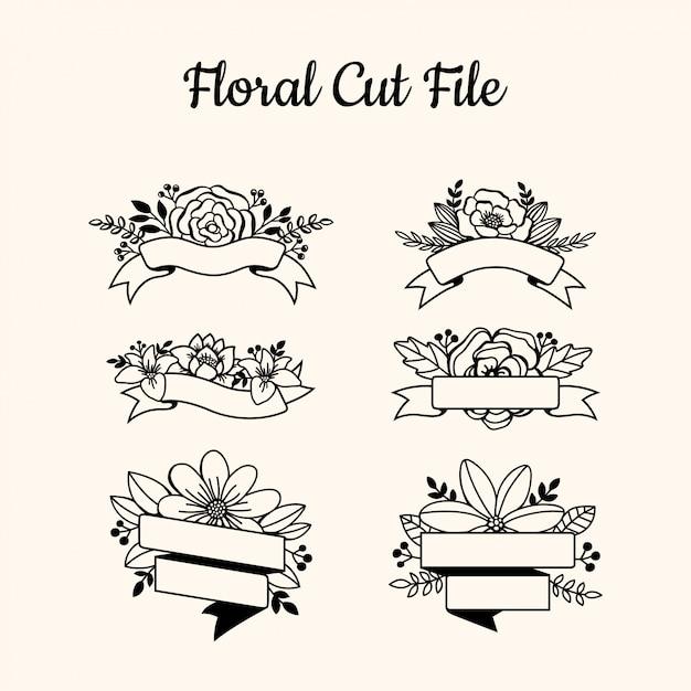 Красивые цветочные вырезать элементы файла Premium векторы