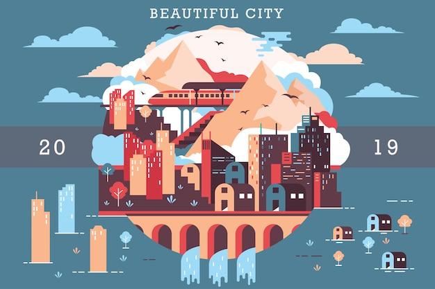 美しい街のベクトルイラスト Premiumベクター