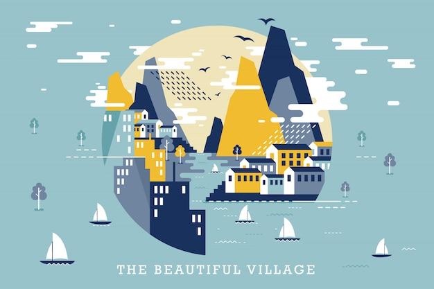 美しい村のベクトルイラスト Premiumベクター