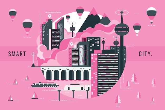 Векторная иллюстрация умного города Premium векторы