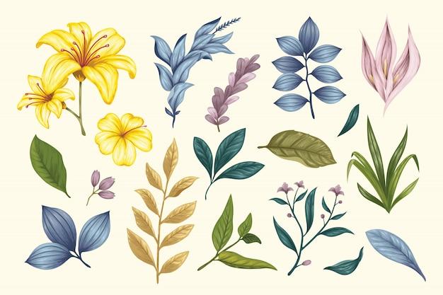 Красивые старинные рисованной цветочные коллекции Premium векторы
