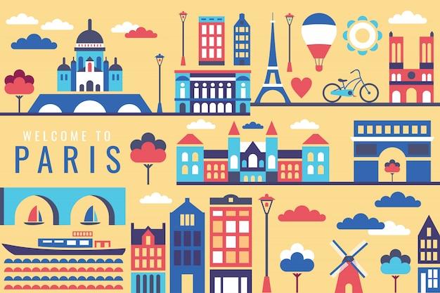 Векторная иллюстрация города в париже Premium векторы