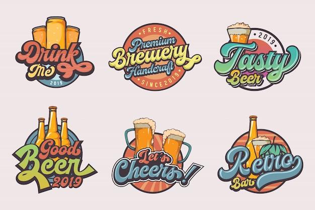 ビンテージビールのロゴのテンプレートのセット Premiumベクター
