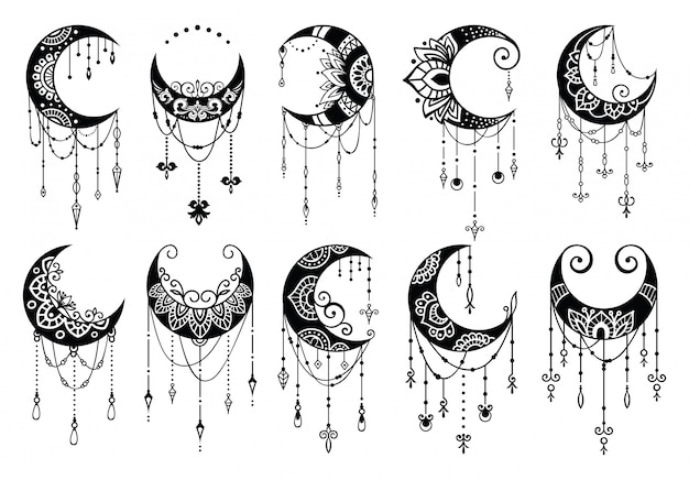 Полумесяц в стиле мандалы, коллекция элементов декора луны Premium векторы