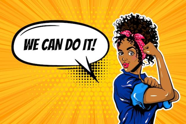Мы можем сделать это черная женщина девушка сила поп-арт Premium векторы