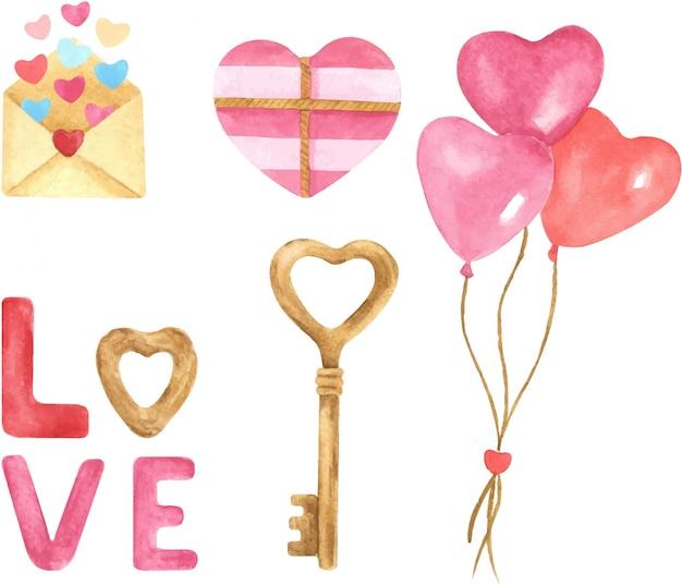 Валентина день рисованной акварельные иллюстрации набор. воздушные шары, сердца, настоящее, надпись, письмо, ключ в форме сердца. Premium векторы