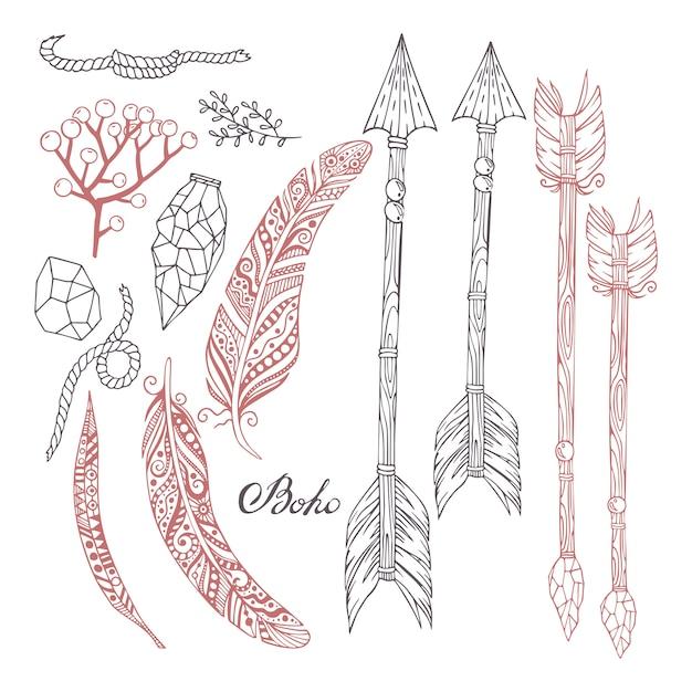 Ручная роспись в стиле бохо со стрелами, перьями, растениями, камнями и веревкой. Premium векторы