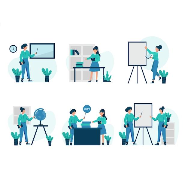 プライベートチューターは、生徒の前で教材を説明し、設定されたシーンについて議論します Premiumベクター