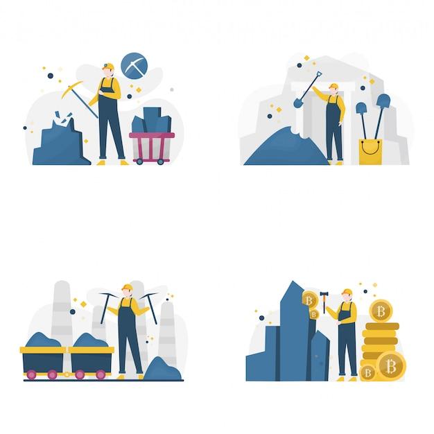 Шахтеры добывают золото, уголь и алмазы, Premium векторы