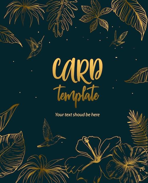 Шаблон поздравительной открытки или приглашения с тропическими листьями и цветами. Premium векторы