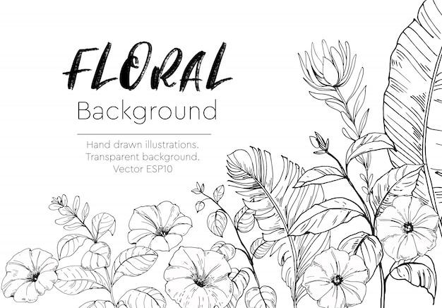 Цветочный фон с тропическими растениями. нарисованный от руки Premium векторы