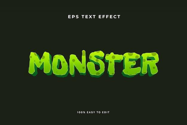Текстовый эффект зеленого монстра-зомби Premium векторы