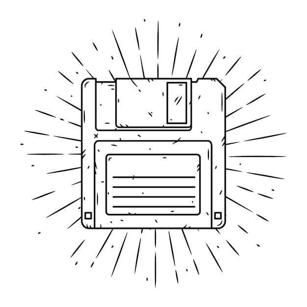 フロッピーディスクと発散光線で描かれたイラストを手します。 Premiumベクター