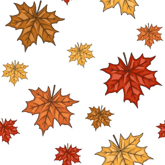 Бесшовный фон с осенними кленовыми листьями. иллюстрации. Premium векторы