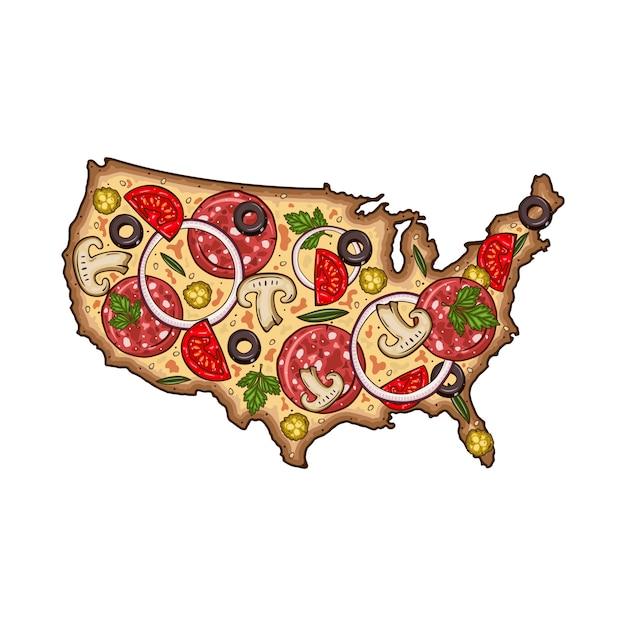 Мультфильм пицца. карта сша в виде пиццы. пицца в виде карты сша. Premium векторы