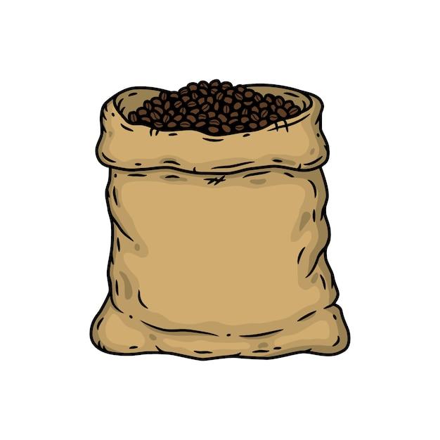 Мешок с кофе в зернах. изолированных иллюстрация Premium векторы