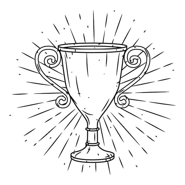 Вручите сделанную иллюстрацию с чашкой трофея и расходящимися лучами. Premium векторы
