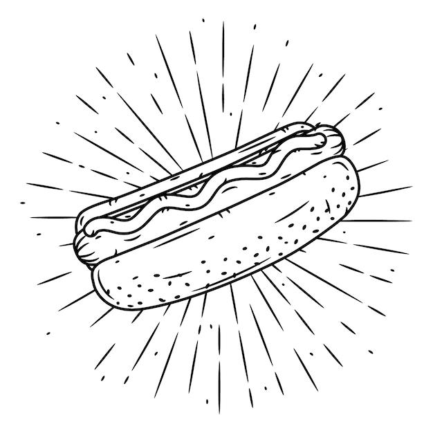 Вручите сделанную иллюстрацию с хот-догом и расходящимися лучами. Premium векторы